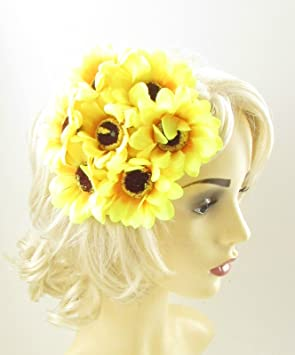 Yellow Sunflower Fascinator Flower Headpiece Races Wedding