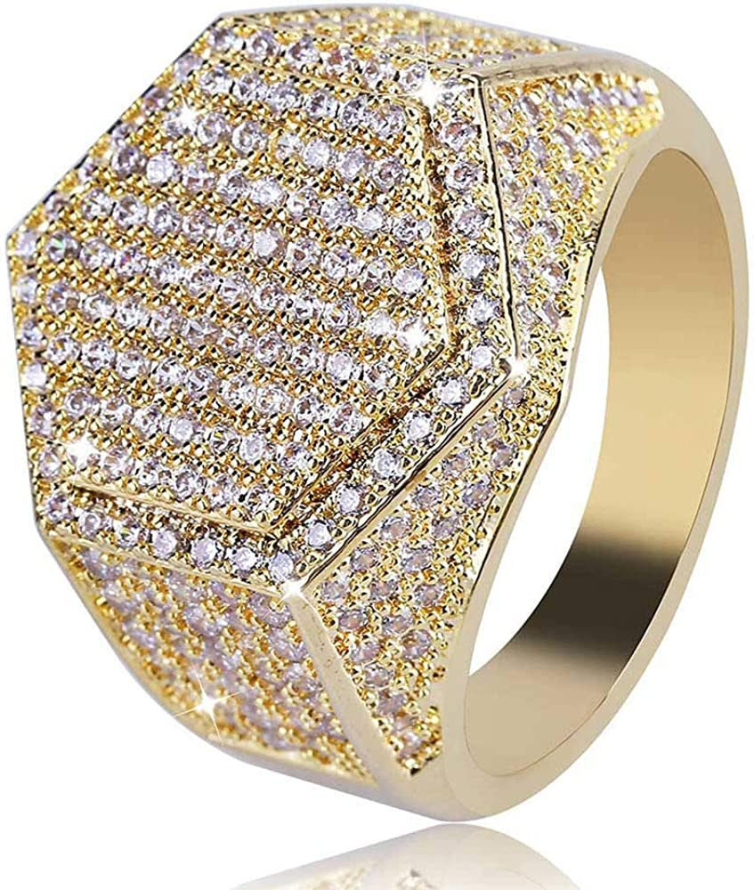 CHENGS 18K Gold CLUSTER ICED OUT Lab Simulated Diamond Band MICROPAVE Mens Pinky Ring 8