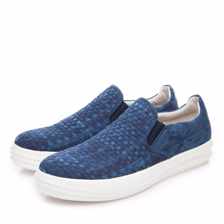 2018 New Fashion Spring Men Loafers Man Slip-On Walking Shoes Men Hemp Casual Footwear Comfortable Blue