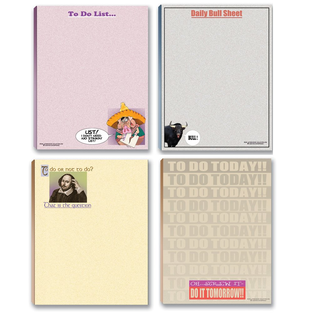 Funny Notepads Assorted Pack - 4 Funny To Do List Notepads