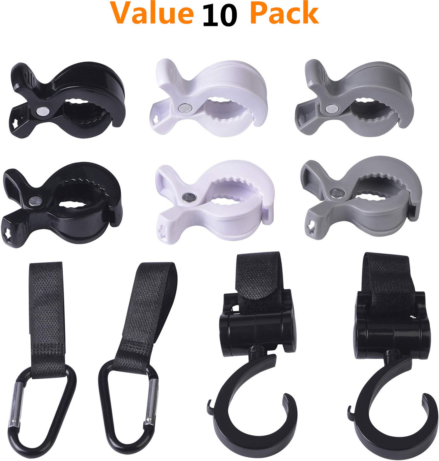 Value 10 Pack Baby Pram pegs and Stroller Hooks Set to Hook Muslin Blanket and Toys, car seat Cover Clips pram Toy Holder, Hanger for Baby Diaper Bags, Shopping Bags, Groceries, Clothing, Purse by Little Jump