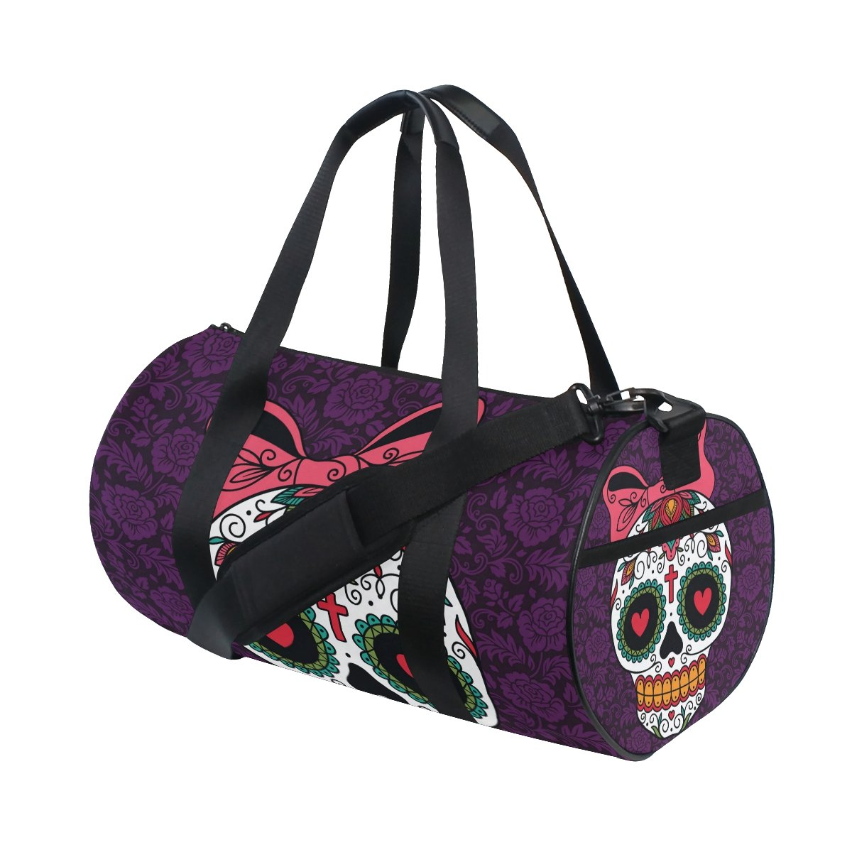 Naanle Mexican Sugar Skull Girl Purple Floral Day Of The Dead Gym bag Sports Travel Duffle Bags for Men Women Boys Girls Kids