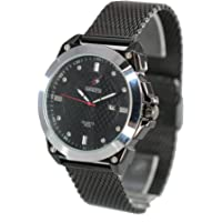 Men's Black Plated Case Stainless Steel Watch with Mesh Band (Black)