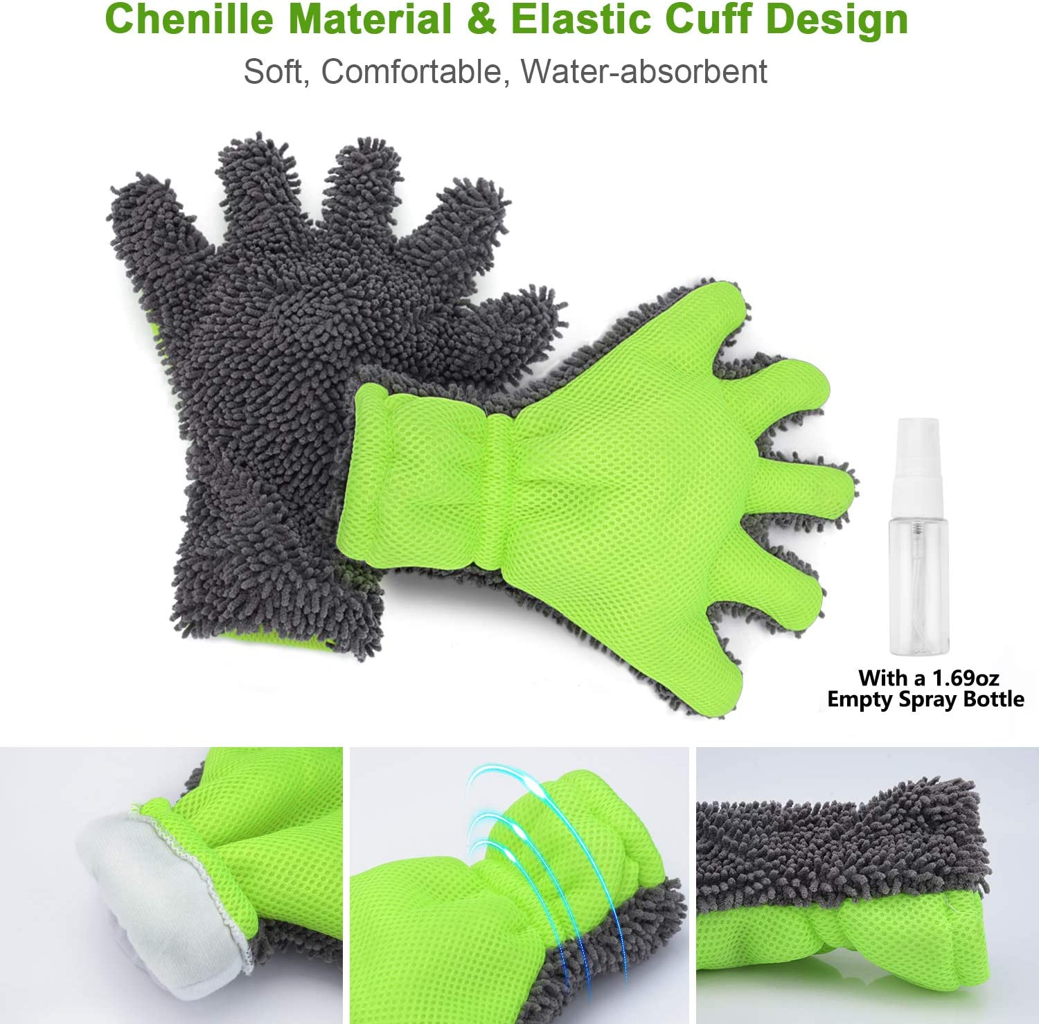 Extra Large Size XINDELL Chenille Microfiber Car Wash Glove for Car Exterior Interior Cleaning Scratch Free /& Lint Free 5 Finger Washing Mitten 1XCar Wash Mitt X XINDELL Car Wash Mitt