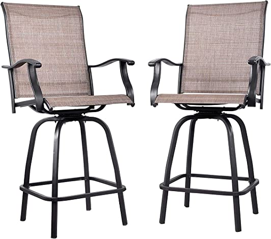 EMERIT Outdoor Swivel Bar Stools Bar Height Patio Chairs All-Weather Patio Furniture - the best outdoor bar stool for the money