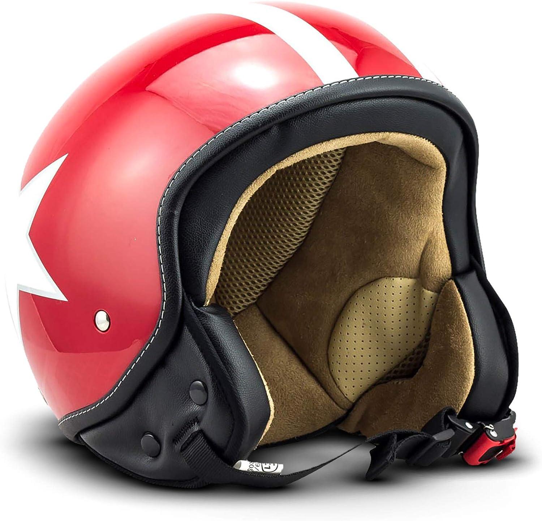 Soxon SP-301-STAR Casco Demi-Jet Motocicleta, ECE Certificado, Incluyendo Bolsa de Casco, S (55-56cm), Rojo