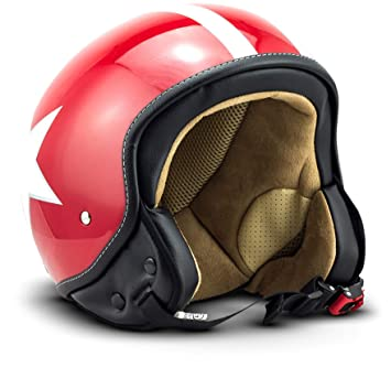 S Stofftragetasche Rot ECE zertifiziert Star SOXON SP-301-STAR Red Motorrad-Helm Roller-Helm Jet-Helm Bobber Scooter-Helm Pilot Cruiser Vintage Mofa Chopper Helmet Biker Vespa-Helm Retro 55-56cm inkl