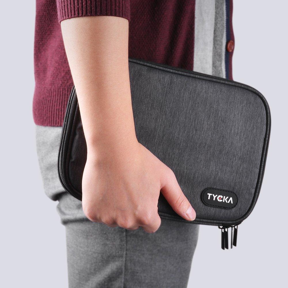 iPad mini USB Kindle Cargadores; Gris Oscuro Bolsa de almacenamiento port/átil de viajes para organizar los accesorios electr/ónios; Cables Tarjetas SD TYCKA