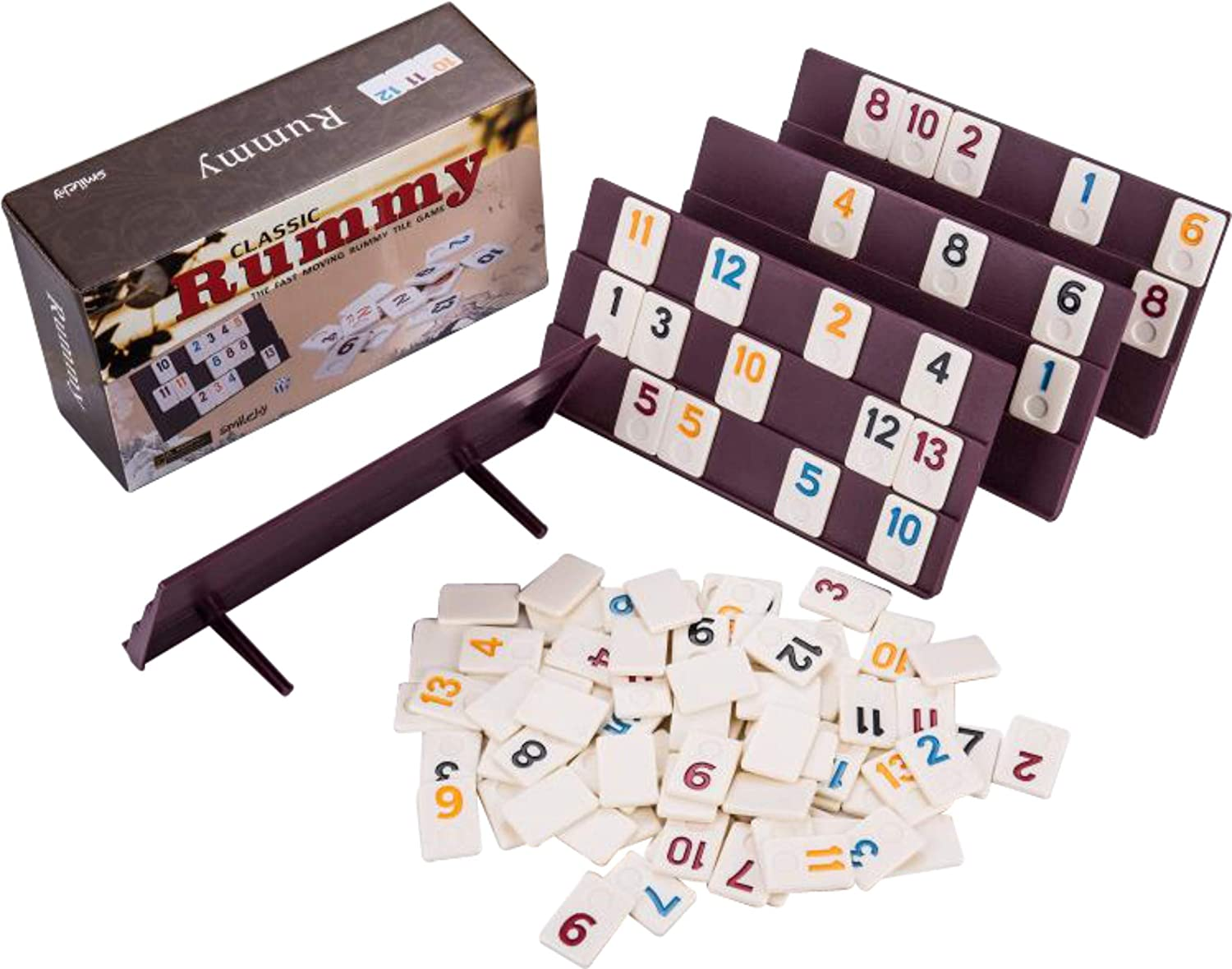 Buy Smilejoy Rummy 106 Tiles, Travel Rummy with 4 Sturdy Racks& ...