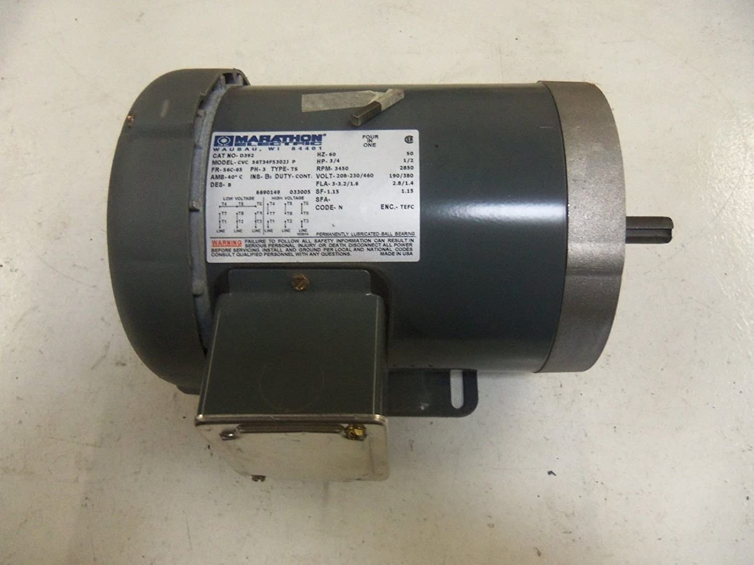 Marathon D392 56c Frame 56t34f5302 Tefc General Purpose Motor 3 Electric Phase Wiring Diagram C Face With Base Ball Bearing 4 Hp 3600 Rpm 1 Speed 208 230 460 Vac