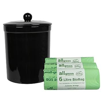 black ceramic compost caddy u0026 150x 6l allgreen biobags melbury kitchen ceramic compost