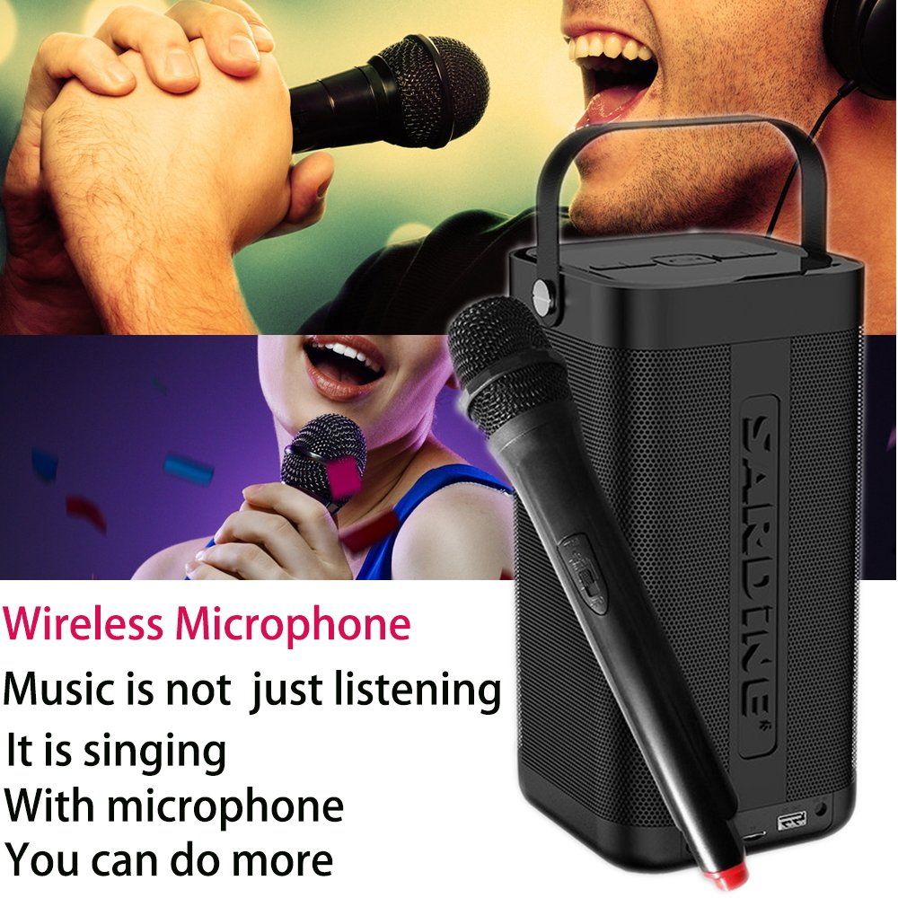 SARDiNE Outdoor Bluetooth Speaker, 16W Output from Dual 8W Drivers, Two Passive Subwoofers, Built-in Mic 5200mah Battery, Perfect for Karaoke, iPhone, iPad, Samsung GALAXY Series(Black,with Mic) by SARDINE (Image #4)