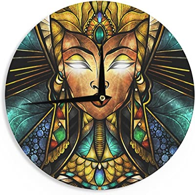 "KESS InHouse Mandie Manzano ""Nefertari"" Teal Tan Wall Clock, 12"""