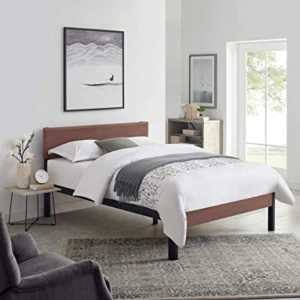 online store 68bfb 292ef Classic Brands DeCoro Portland Wood Slat and Metal Platform Bed Frame with  Solid Wood Headboard | Mattress Foundation, Queen