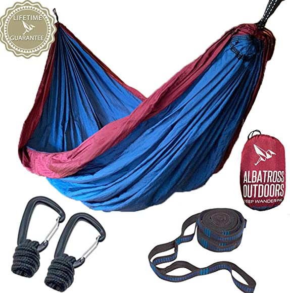 Albatross Outdoors XL Double Camping Hammock – Quality Breathable Ripstop Nylon – High Capacity – Includes Tree Straps and Carabiners Quick and Easy Setup.