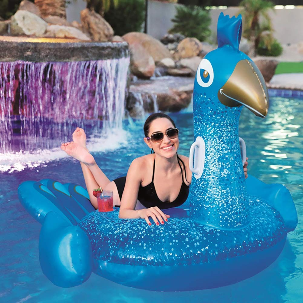 HECHEN Swimming Inflatable Floating Row 198164cm Children's Water Riding Toy Adult Large Peacock Shape Swimming Ring air Bed by HECHEN (Image #3)