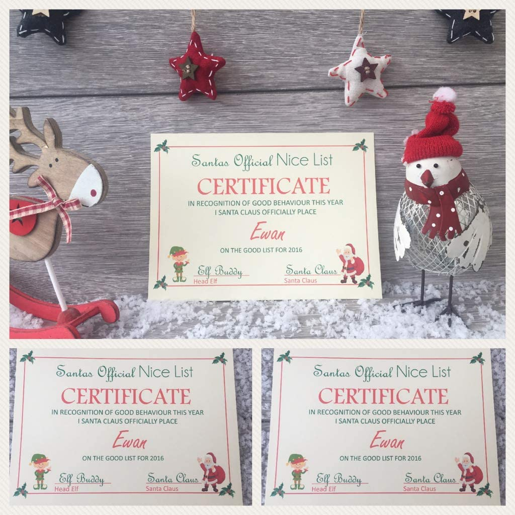 Christmas Stocking Stuffers Favors Boy Girl Santa Claus Nice List Certificate