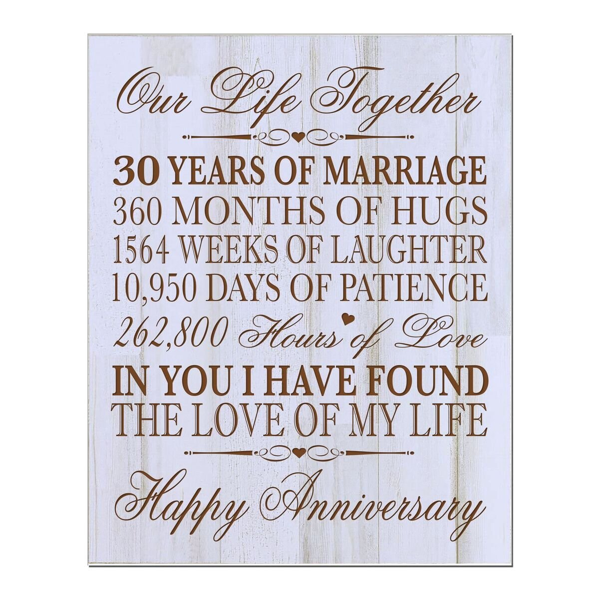 LifeSong Milestones 30th Ideas for him her Couple Parents, Custom Made 30 Year Ideas Wall Plaque 12'' x 15'' (Distressed White) by LifeSong Milestones