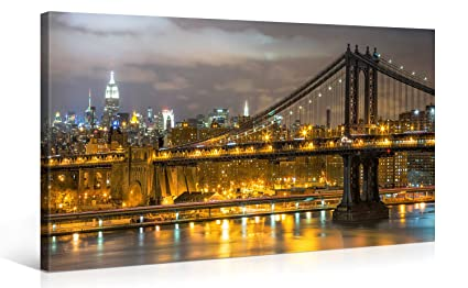 Large Canvas Print Wall Art u2013 OVERLOOKING MANHATTAN u2013 40x20 Inch New York Cityscape Canvas Picture  sc 1 st  Amazon.com & Amazon.com: Large Canvas Print Wall Art - OVERLOOKING MANHATTAN ...
