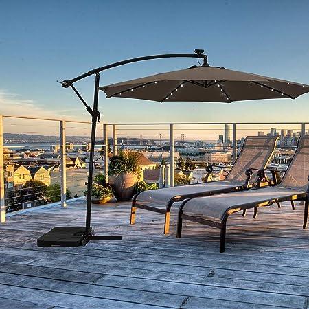Paraguas de lujo para exteriores con energía solar, de 10 pies ...