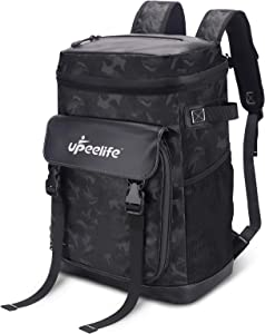 Upeelife Backpack Cooler 30L with Adjustable Blanket Fixing Strap, Leak-Proof Cooler Backpack Insulated Cooler Bag for Keeping Food Warm, Cool and Fresh During Camping, Lunch, Hiking, Fishing, Beach