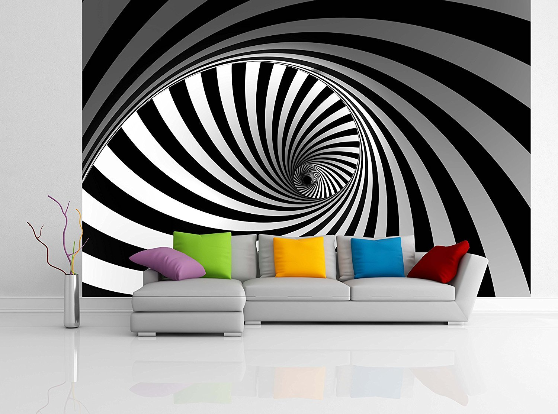 Removable Wallpaper Mural Peel & Stick 3D Spiral (83H X 124W)