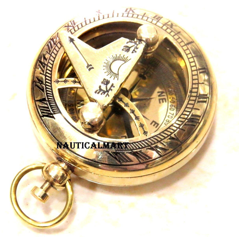 Nauticalmart Brass Push Button Sundial Compass - Pocket Sundial Compass NauticalMart Inc