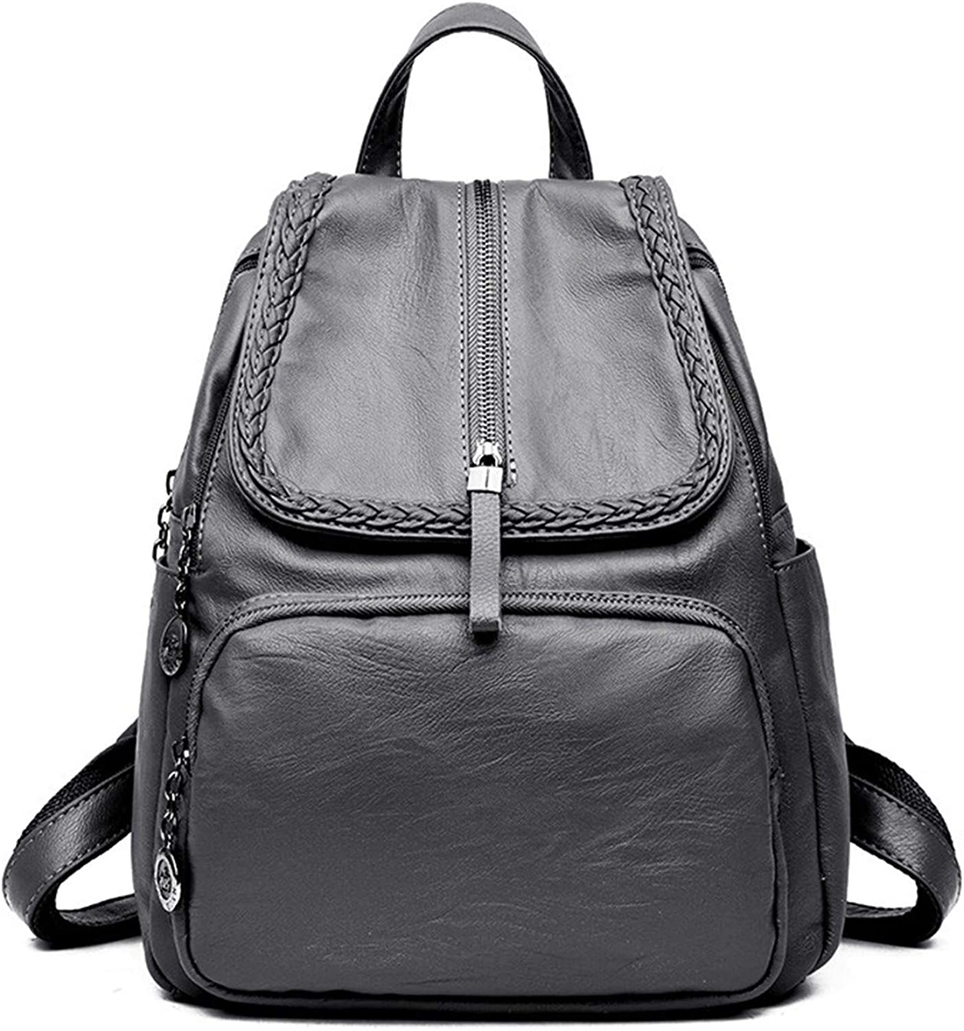 Hangton Casual Women Backpack School Bags For Teenagers Solid Female Leather Backpacks Zipper Bagpack,Gray,Onesize