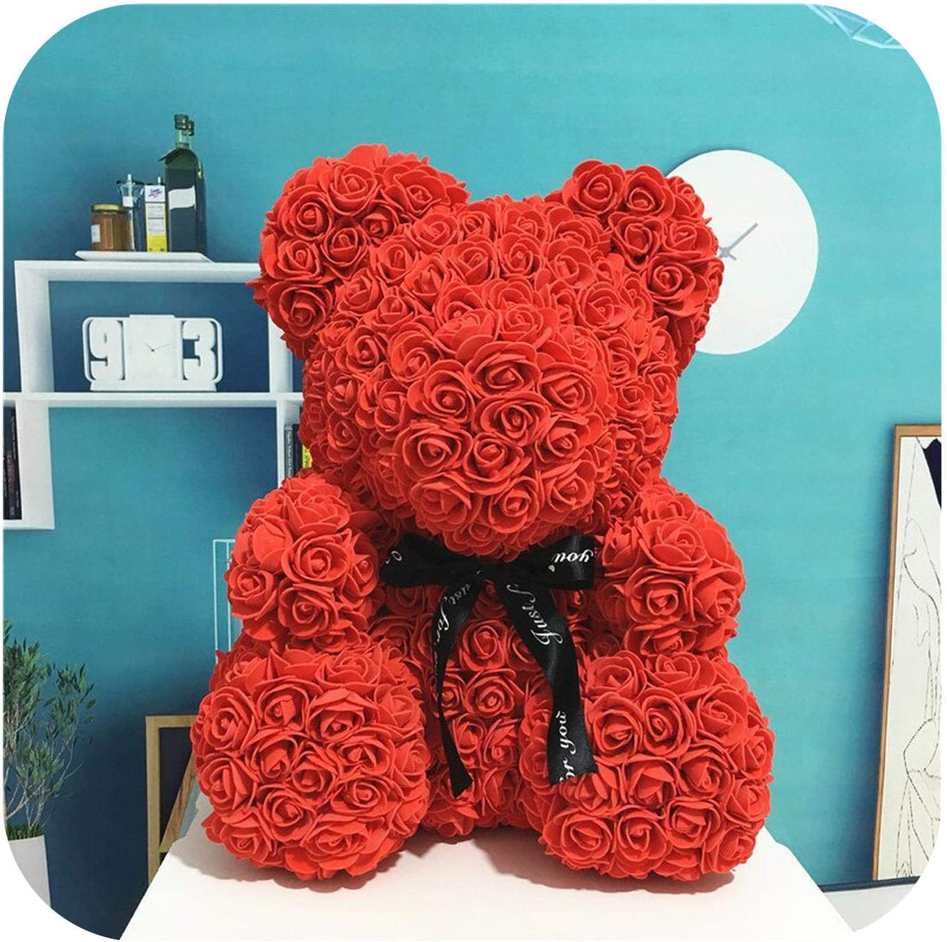 Color Variety Rose Flower Bear Foam Teddy Bear Gift Wedding Birthday Valentine