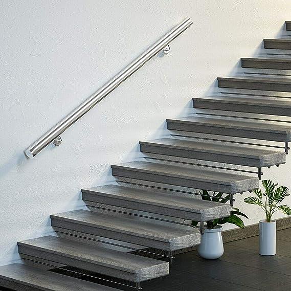 Monzana Pasamanos de acero inoxidable barandilla de pared para escalera 100 cm con soporte de pared resistente interior: Amazon.es: Bricolaje y herramientas