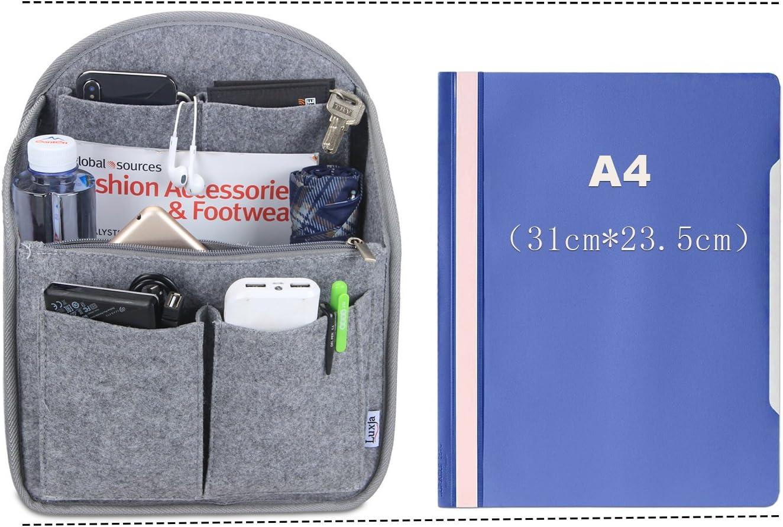 Organiseur Organiseurs de Sacs /à Main Feutre Sac de Rangement Int/érieur Bag in Bag pour Femmes avec Sac /à Fermeture /éclaire et Porte-cl/és Noir, 27cm x 15cm x 16cm