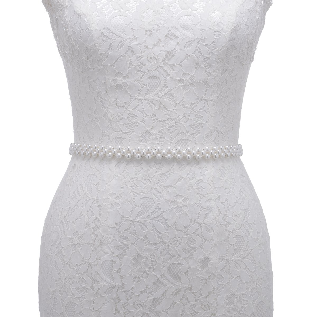 Remedios Pure White Pearls Bridal Wedding Sash With Organza Ribbon