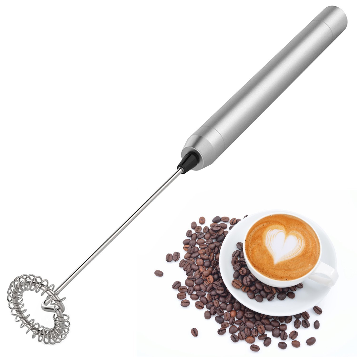 Handheld Electric Milk Frother,Food Grade Quality Stainless Steel Mini Portable Whisk- Silver KMax