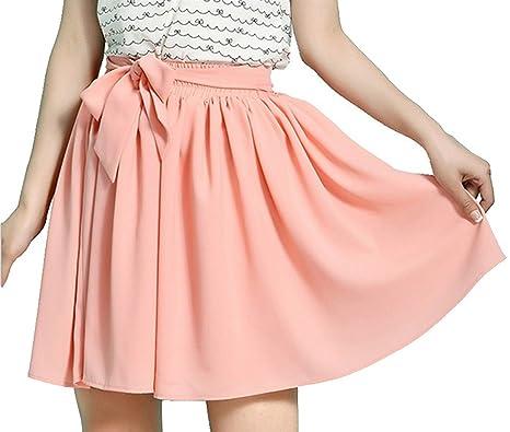 Mädchen Damen Rock kurz Sommer Chiffonrock mit Gürtel Faltenröcke Minikleid  Tüllrock Kurz Skirt (Pink) 9c7a287d4a