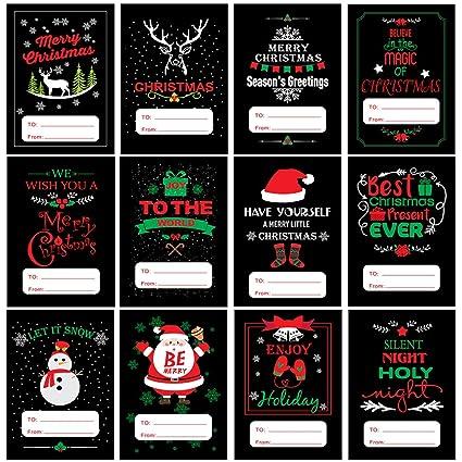 amazon com 120 pcs self adhesive christmas holiday gift name tags