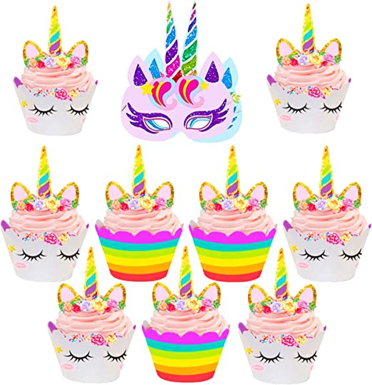 12//24XUnicorn Birthday Decorations Cupcake Wrappers//Unicorn Cup Cake Wrap SI