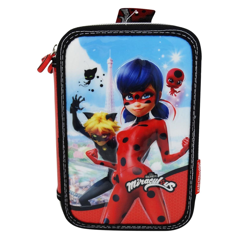 Prodigiosa: Las aventuras de Ladybug Estuche Escolar Làpices de colores Plumier triple: Amazon.es: Equipaje