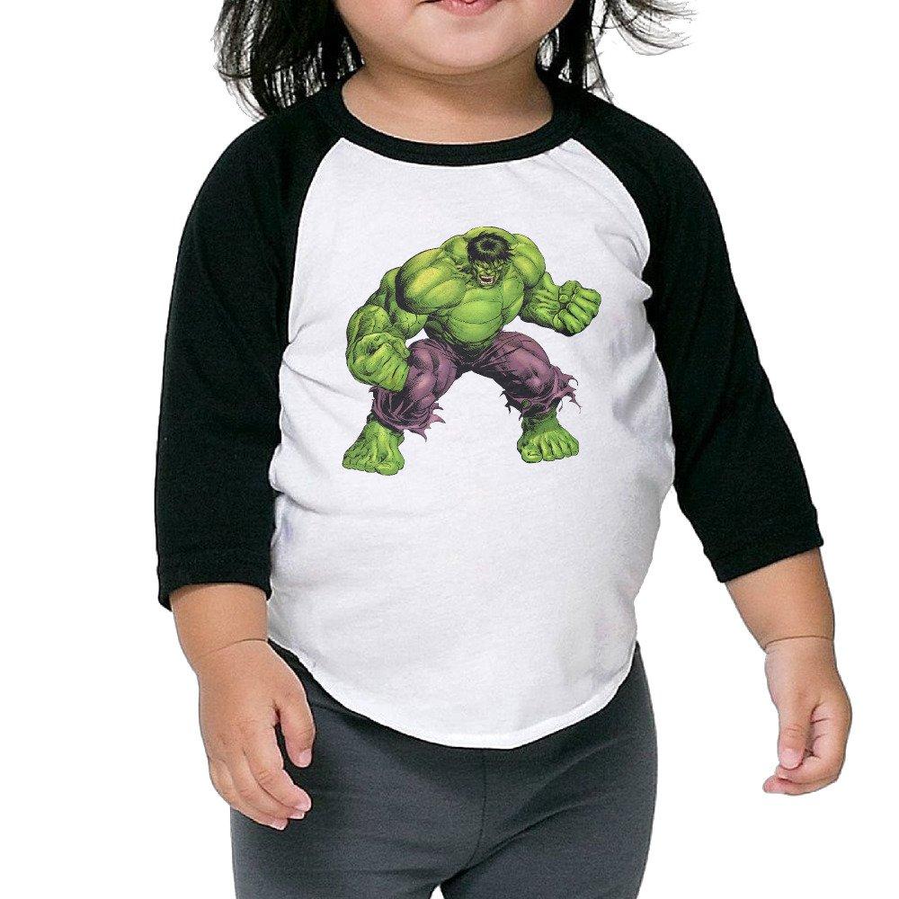 Toddler Designer Hulk 100% Cotton 3/4 Sleeve Athletic Baseball Raglan Tee Shirts