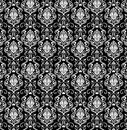 Patrick Lose 'Happy Halloween' Elegant White on Black 'Damask' Cotton Fabric