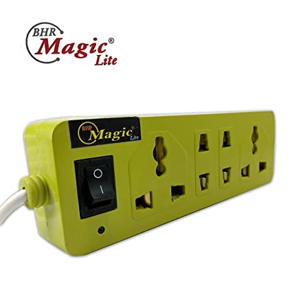 BHR MAGIC LITE Extension Cord Small Bar Shaped Power-Strip 4 Sockets + 1 Switch Rocker Power-Strip Extension Board,Extension Cord