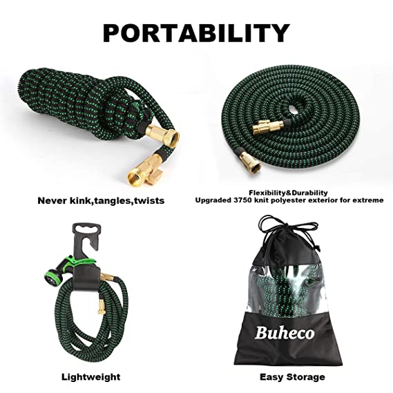 Buheco Expandable Garden Hose 100ft-Water Hose with 9 Function Spray Nozzle and Durable 4 Layers Latex-3//4 Solid Brass Fittings-Strength 3750D No Kink Flexible Lightweight Expanding Hose Pipe Set