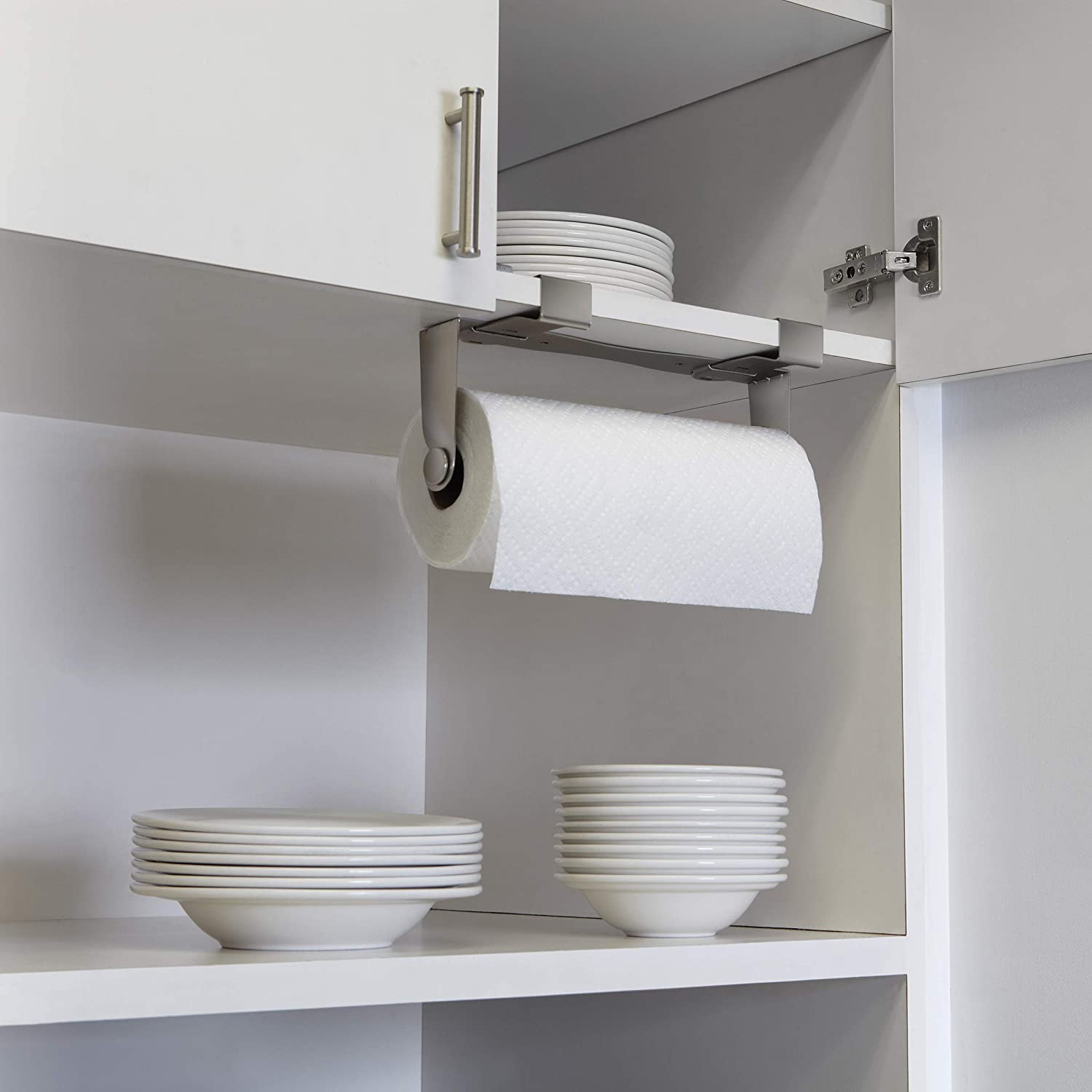 Umbra Mountie Cabinet-Mount Paper Towel Holder – Modern, Versatile Nickel Plated Kitchen Paper Towel - Offers Three Easy Mounting Options - Allows One Handed Tear - Prevents Rolls From Unraveling