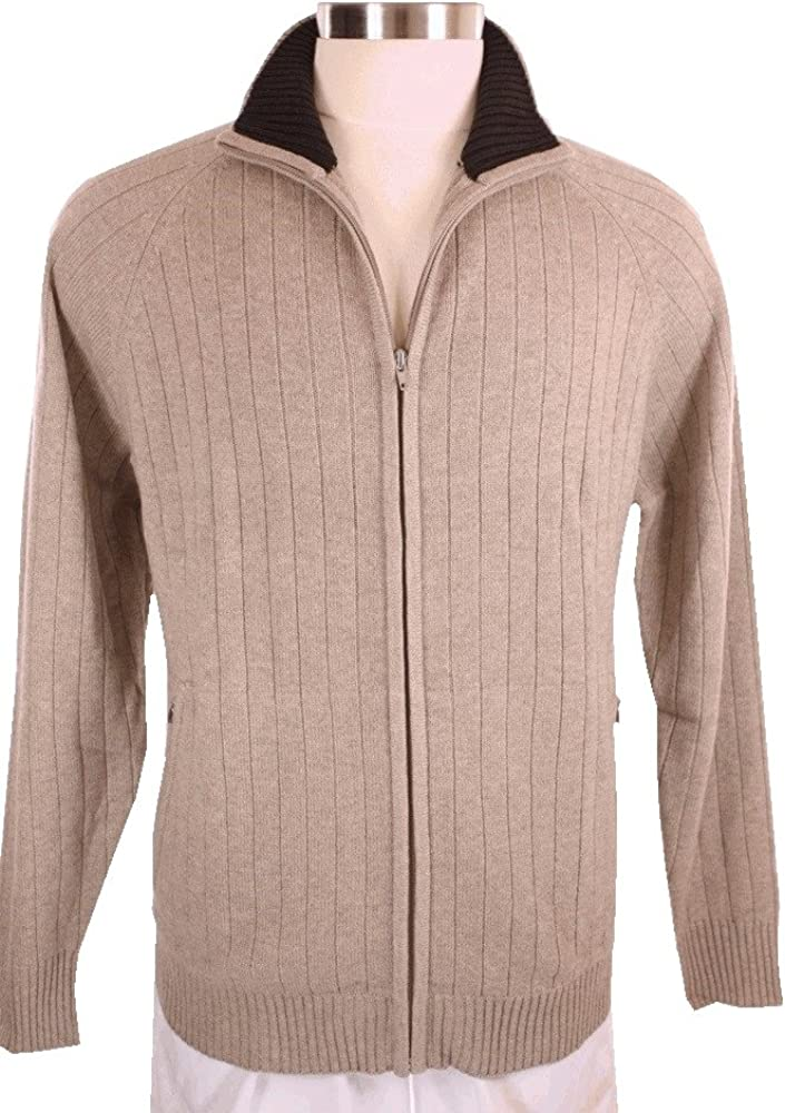 Shephe 4 Ply Men's Cardigan Cashmere Sweater Full Zip Closure Bi Color Collar