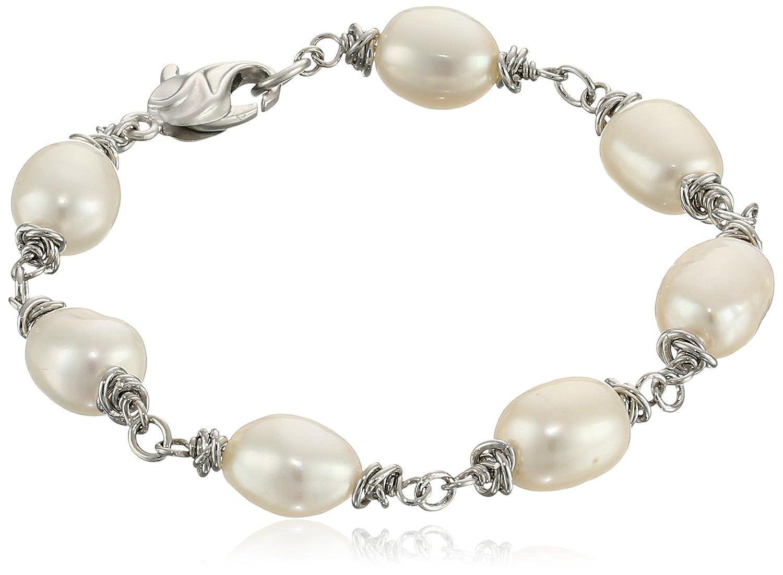"Honora ""Crush"" White Freshwater Cultured Pearl (9-10 mm) Link Bracelet, 7.5"""