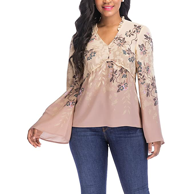 bbe7d427c92 OneWorld Loose Wide Sleeve V Neck Print Gored Woven Blouse Top for Women  and Ladies
