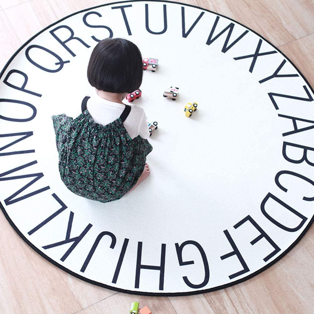 ZAILHWK Kids Rug ABC Alphabet Kids Crawling Mat Round plush baby Game Mat for Children Toddlers Alphabet Educational Area Rugs,Best Play Mat Carpet