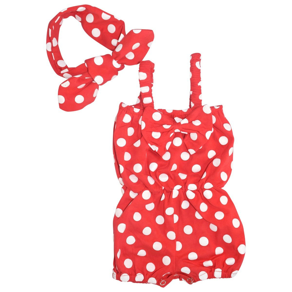 Unique Baby Girls Polka Dot Romper Headband Set