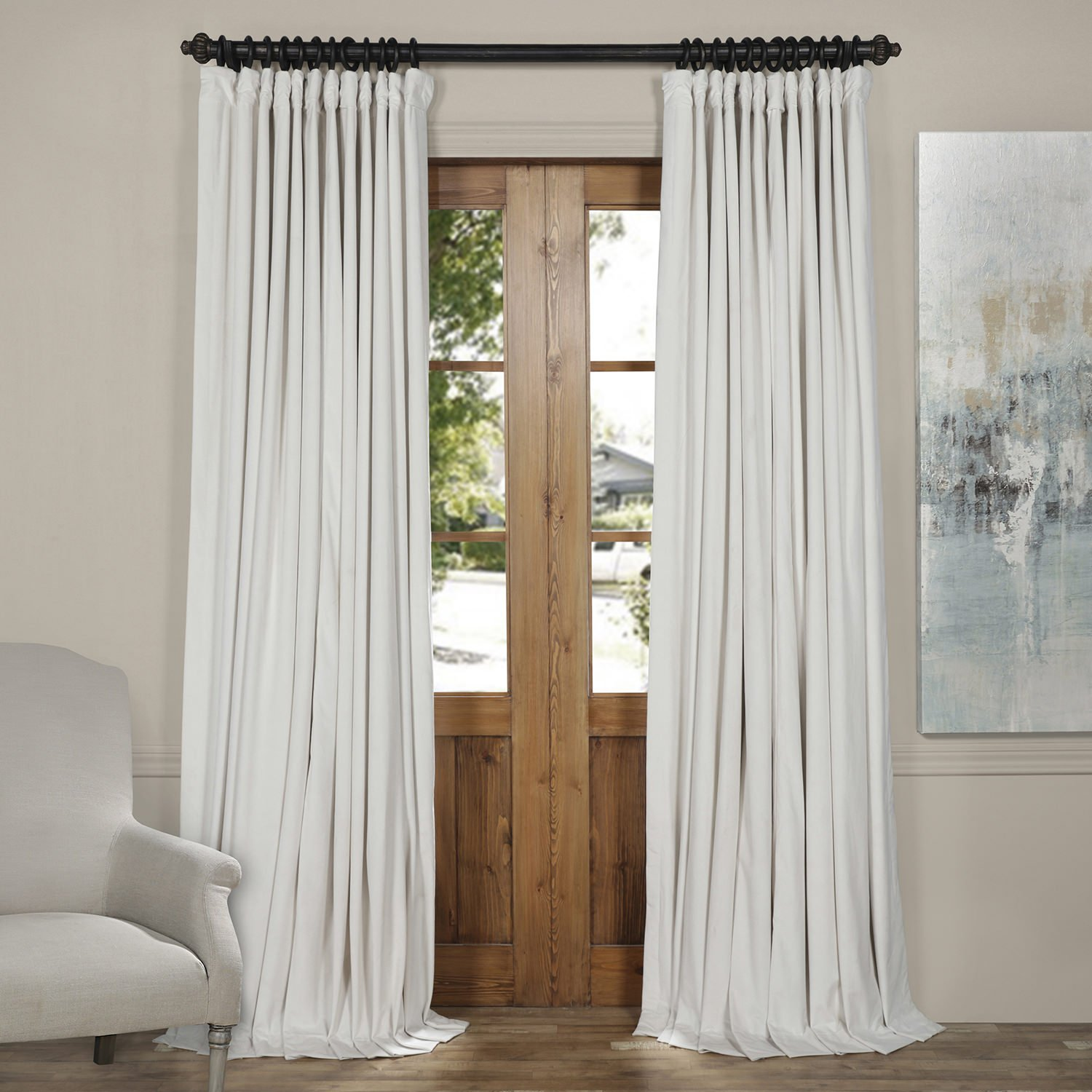 Half Price Drapes VPCH-VET1219-120 Signature Doublewide Blackout Velvet Curtain, Off White, 100 X 120
