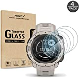 [4 Pack] AKWOX Compatible for Garmin Instinct Smartwatch Tempered Glass Screen Protector, 2.5D Arc Edges 9 Hardness HD…