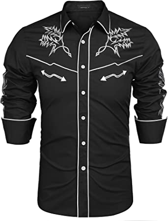 hower Men Long Sleeve Floral Embroidery Slim Fit Band Collar Dress Shirts